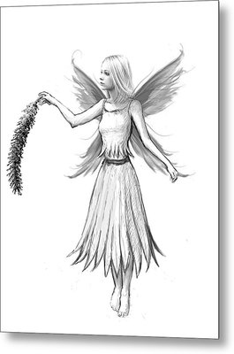 Weeping Willow Fairy With Catkin B And W Metal Print