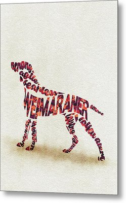 Metal Print featuring the painting Weimaraner Watercolor Painting / Typographic Art by Inspirowl Design