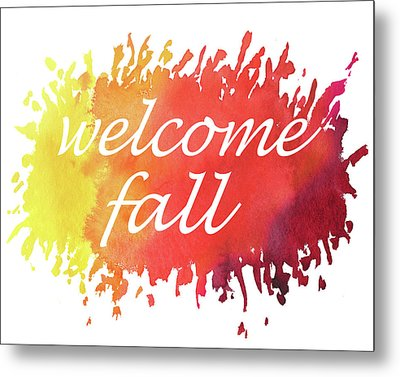 Metal Print featuring the painting Welcome Fall Watercolor by Irina Sztukowski
