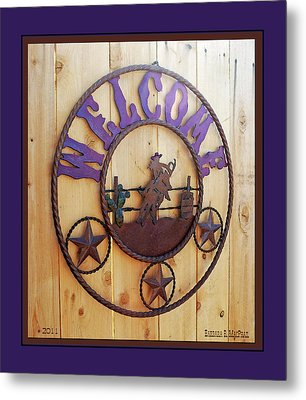 Metal Print featuring the photograph Welcome In Purple by Barbara MacPhail