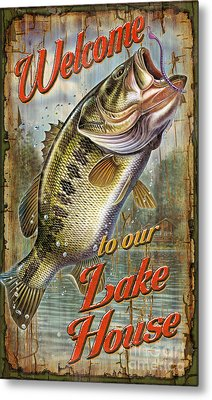 Welcome Lake House Sign Metal Print by Jon Q Wright