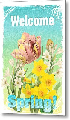Welcome Spring Flowers-jp2775 Metal Print by Jean Plout