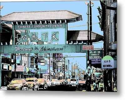 Welcome To Chinatown Sign Blue Metal Print by Marianne Dow