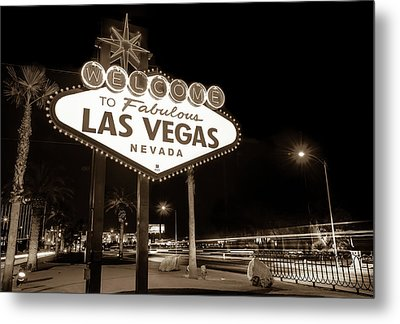 Metal Print featuring the photograph Welcome To Fabulous Las Vegas - Neon Sign In Sepia by Gregory Ballos