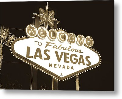 Metal Print featuring the photograph Welcome To Las Vegas Neon Sign In Sepia - Nevada Usa by Gregory Ballos