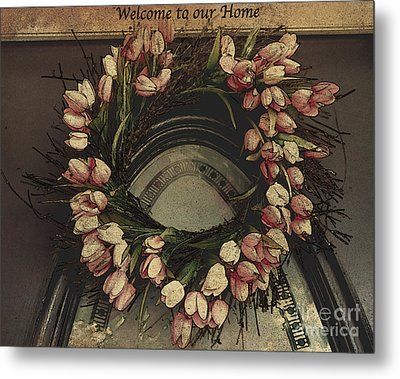 Welcome To Our Home / Burgundy Metal Print