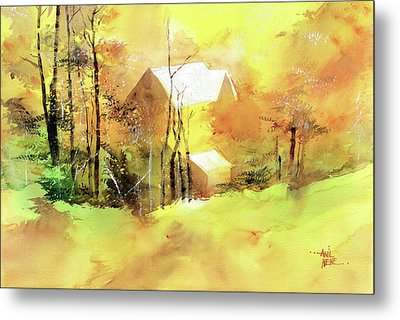 Metal Print featuring the painting Welcome Winter by Anil Nene