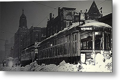 Wells Street Trolley Metal Print