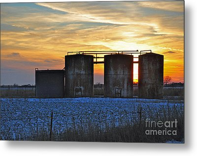 Wellsite Sunset Metal Print