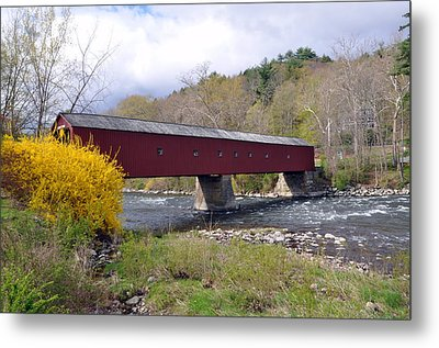 West Cornwall Ct Covered Bridge Metal Print