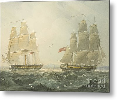 West Indiaman Union And Ann Coming Up The Bristol Channel Metal Print by Thomas Leeson the Elder Rowbotham