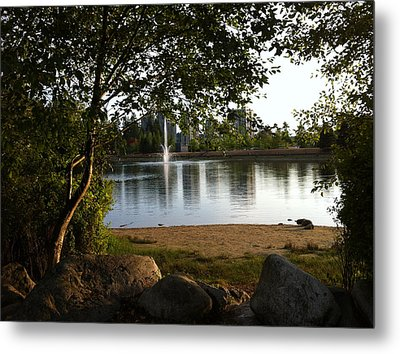 Metal Print featuring the painting West View Of Lafarge Lake by Rod Jellison