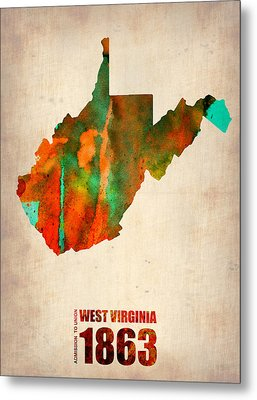 West Virginia Watercolor Map Metal Print by Naxart Studio