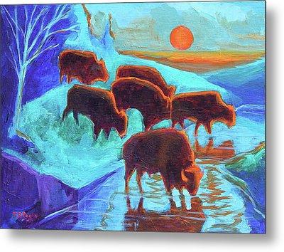 Western Buffalo Art Six Bison At Sunset Turquoise Painting Bertram Poole Metal Print by Thomas Bertram POOLE
