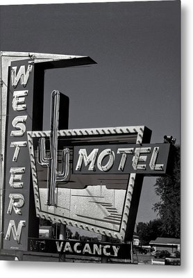 Metal Print featuring the photograph Western Motel In Black And White by Matthew Bamberg