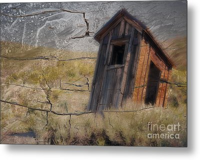 Western Outhouse Metal Print by Ron Hoggard