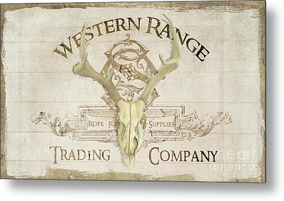 Metal Print featuring the painting Western Range 3 Old West Deer Skull Wooden Sign Trading Company by Audrey Jeanne Roberts