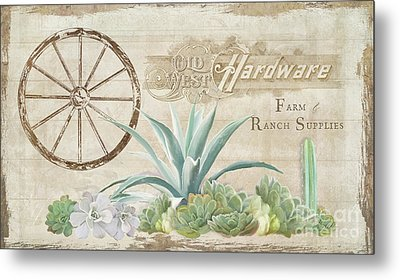 Metal Print featuring the painting Western Range 4 Old West Desert Cactus Farm Ranch  Wooden Sign Hardware by Audrey Jeanne Roberts