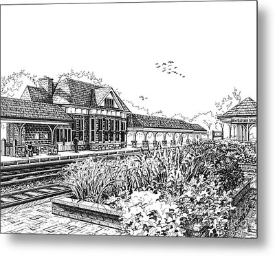 Western Springs Train Station Metal Print by Mary Palmer