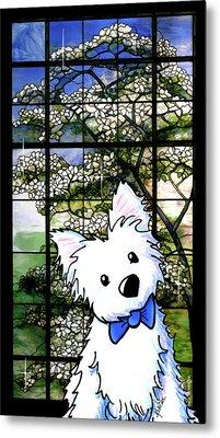 Westie At Dogwood Window Metal Print