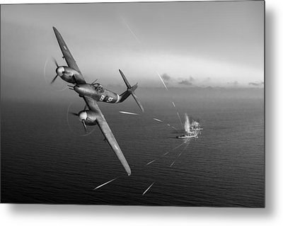 Metal Print featuring the photograph Westland Whirlwind Attacking E-boats Black And White Version by Gary Eason