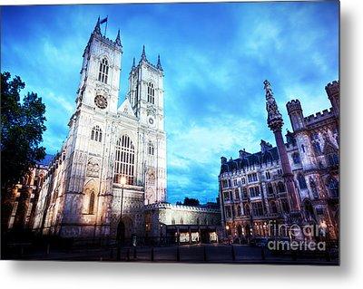 Westminster Abbey Church Facade At Night, London Uk. Metal Print by Michal Bednarek