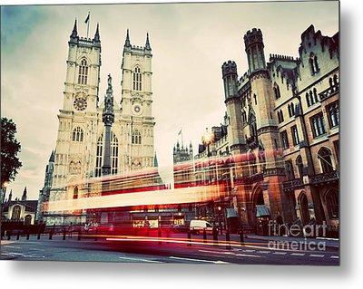 Westminster Abbey Church, Red Bus Moving In London Uk. Vintage Metal Print by Michal Bednarek