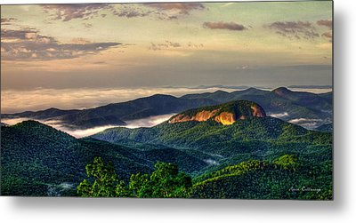 Metal Print featuring the photograph Looking Glass Rock Sunrise Between The Clouds Blue Ridge Parkway by Reid Callaway