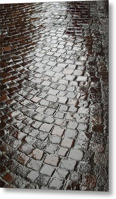 Metal Print featuring the photograph Wet Lucca Street by Michael Flood