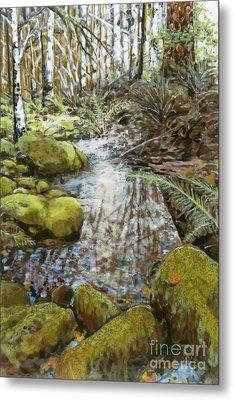 Wet Spot In Woods Metal Print