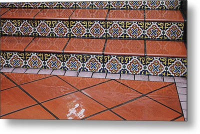 Wet Tile Steps Metal Print by Jean Booth