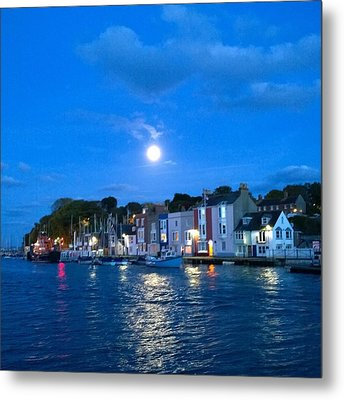 Weymouth Harbour, Full Moon Metal Print