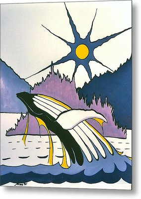 Whale-charlotte Islands Metal Print by Arnold Isbister