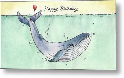 Whale Happy Birthday Card Metal Print