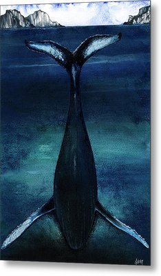 Metal Print featuring the mixed media whale II by Anthony Burks Sr