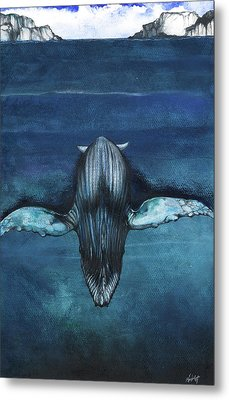 Metal Print featuring the mixed media Whale IIi by Anthony Burks Sr