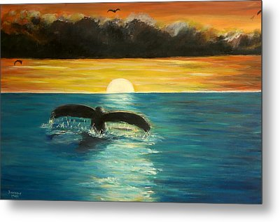 Whale Tail At Sunset  Metal Print by Bernadette Krupa