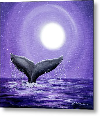 Whale Tail In Lavender Moonlight Metal Print
