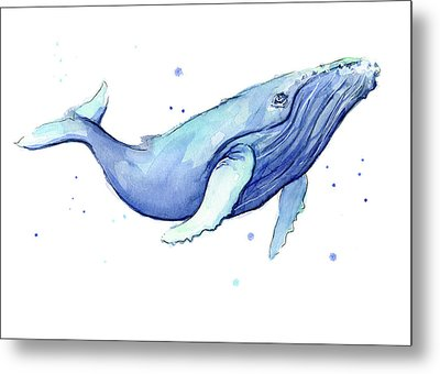 Whale Watercolor Humpback Metal Print