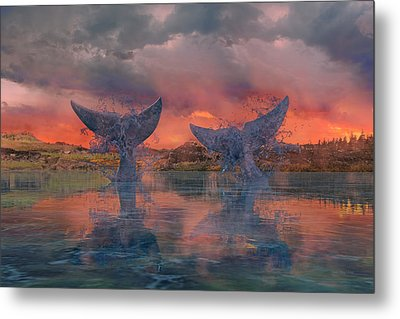 Whales Metal Print by Betsy Knapp