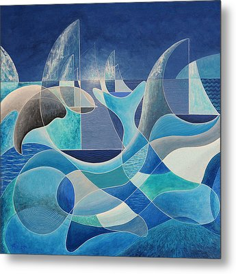 Whales In The Midnight Sun Metal Print