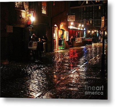 Whart Street In The Night Rain Metal Print by Maria Varnalis