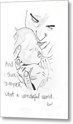 Metal Print featuring the drawing What A Wonderful World by Rebecca Wood