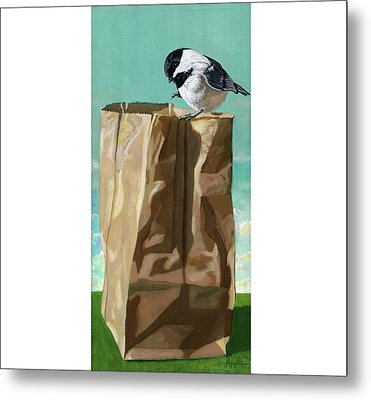 What's In The Bag Original Painting Metal Print by Linda Apple