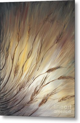 Wheat In The Wind Metal Print by Nadine Rippelmeyer