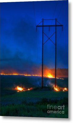 Wheat Stubble Burn Metal Print