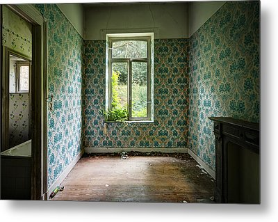 When Nature Takes Over  Vintage Wallpaper- Urban Exploration Metal Print by Dirk Ercken
