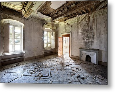 When The Ceiling Comes Down - Urban Exploration Metal Print by Dirk Ercken