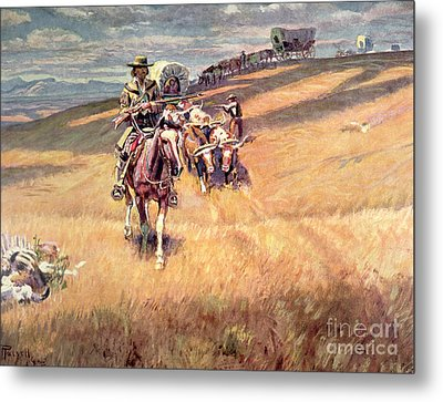 When Wagon Trails Were Dim Metal Print by Charles Marion Russell