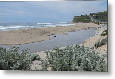 Where Scott Creek Meets The Ocean Metal Print